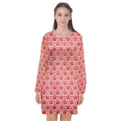 Scales2 White Marble & Red Brushed Metal Long Sleeve Chiffon Shift Dress