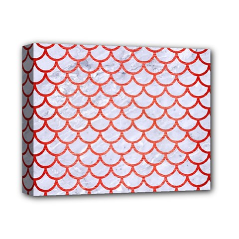Scales1 White Marble & Red Brushed Metal (r) Deluxe Canvas 14  X 11  by trendistuff