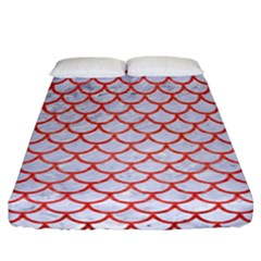 Scales1 White Marble & Red Brushed Metal (r) Fitted Sheet (california King Size) by trendistuff