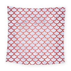 Scales1 White Marble & Red Brushed Metal (r) Square Tapestry (large) by trendistuff