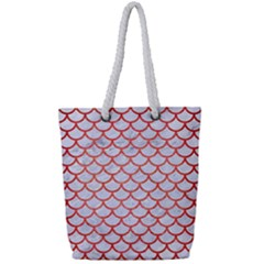 Scales1 White Marble & Red Brushed Metal (r) Full Print Rope Handle Tote (small) by trendistuff