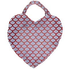 Scales1 White Marble & Red Brushed Metal (r) Giant Heart Shaped Tote