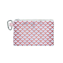 Scales1 White Marble & Red Brushed Metal (r) Canvas Cosmetic Bag (small) by trendistuff