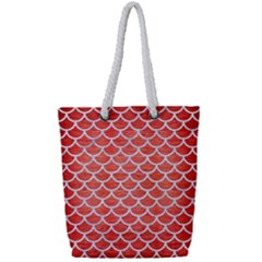 Scales1 White Marble & Red Brushed Metal Full Print Rope Handle Tote (small) by trendistuff