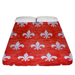 Royal1 White Marble & Red Brushed Metal (r) Fitted Sheet (queen Size) by trendistuff