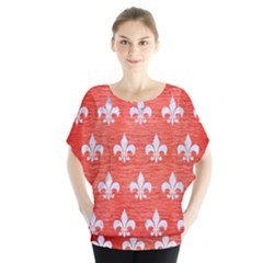 Royal1 White Marble & Red Brushed Metal (r) Blouse