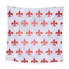 Royal1 White Marble & Red Brushed Metal Square Tapestry (large)