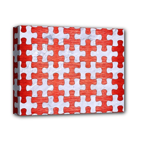 Puzzle1 White Marble & Red Brushed Metal Deluxe Canvas 14  X 11  by trendistuff
