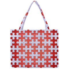 Puzzle1 White Marble & Red Brushed Metal Mini Tote Bag by trendistuff