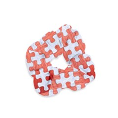 Puzzle1 White Marble & Red Brushed Metal Velvet Scrunchie by trendistuff