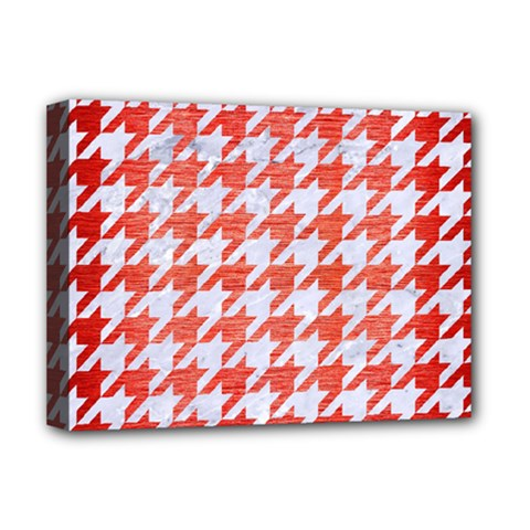 Houndstooth1 White Marble & Red Brushed Metal Deluxe Canvas 16  X 12