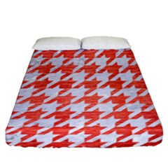 Houndstooth1 White Marble & Red Brushed Metal Fitted Sheet (queen Size) by trendistuff