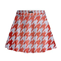 Houndstooth1 White Marble & Red Brushed Metal Mini Flare Skirt