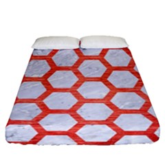 Hexagon2 White Marble & Red Brushed Metal (r) Fitted Sheet (queen Size) by trendistuff