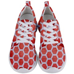 Hexagon2 White Marble & Red Brushed Metal Men s Lightweight Sports Shoes