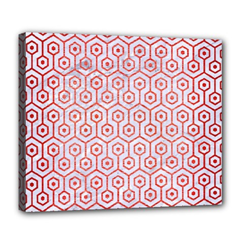 Hexagon1 White Marble & Red Brushed Metal (r) Deluxe Canvas 24  X 20