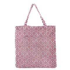 Hexagon1 White Marble & Red Brushed Metal (r) Grocery Tote Bag by trendistuff