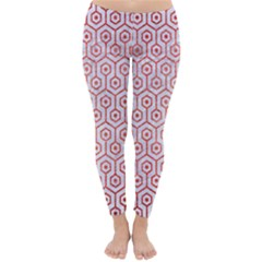 Hexagon1 White Marble & Red Brushed Metal (r) Classic Winter Leggings by trendistuff