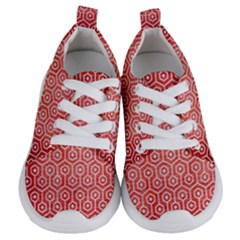 Hexagon1 White Marble & Red Brushed Metal Kids  Lightweight Sports Shoes