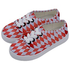 Diamond1 White Marble & Red Brushed Metal Kids  Classic Low Top Sneakers by trendistuff