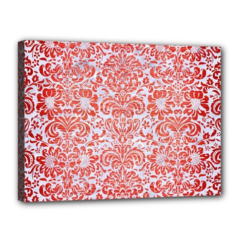 Damask2 White Marble & Red Brushed Metal (r) Canvas 16  X 12  by trendistuff