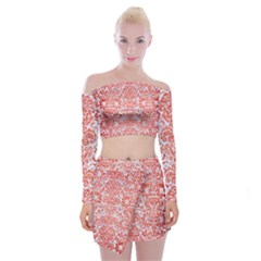 Damask2 White Marble & Red Brushed Metal (r) Off Shoulder Top With Mini Skirt Set