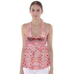 Damask2 White Marble & Red Brushed Metal Babydoll Tankini Top