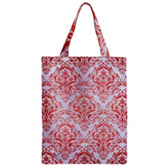 Damask1 White Marble & Red Brushed Metal (r) Zipper Classic Tote Bag by trendistuff