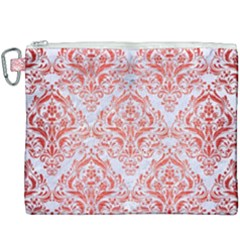 Damask1 White Marble & Red Brushed Metal (r) Canvas Cosmetic Bag (xxxl) by trendistuff