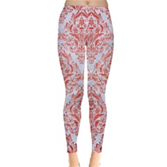 Damask1 White Marble & Red Brushed Metal (r) Inside Out Leggings