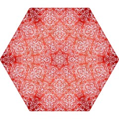 Damask1 White Marble & Red Brushed Metal Mini Folding Umbrellas by trendistuff