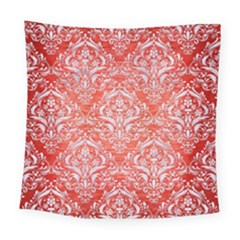 Damask1 White Marble & Red Brushed Metal Square Tapestry (large) by trendistuff