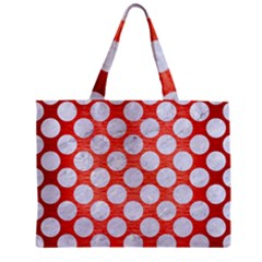 Circles2 White Marble & Red Brushed Metal Zipper Mini Tote Bag by trendistuff