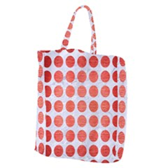 Circles1 White Marble & Red Brushed Metal (r) Giant Grocery Zipper Tote