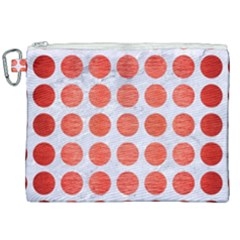 Circles1 White Marble & Red Brushed Metal (r) Canvas Cosmetic Bag (xxl) by trendistuff