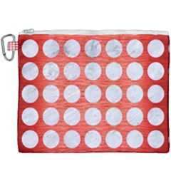 Circles1 White Marble & Red Brushed Metal Canvas Cosmetic Bag (xxxl) by trendistuff