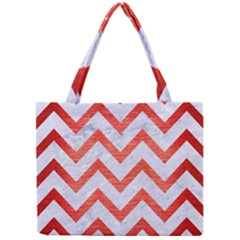 Chevron9 White Marble & Red Brushed Metal (r) Mini Tote Bag by trendistuff