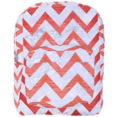 Chevron9 White Marble & Red Brushed Metal (r) Full Print Backpack