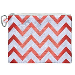 Chevron9 White Marble & Red Brushed Metal (r) Canvas Cosmetic Bag (xxl) by trendistuff