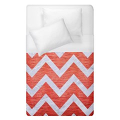 Chevron9 White Marble & Red Brushed Metal Duvet Cover (single Size) by trendistuff