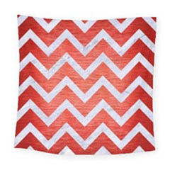Chevron9 White Marble & Red Brushed Metal Square Tapestry (large) by trendistuff