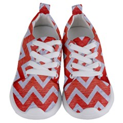 Chevron9 White Marble & Red Brushed Metal Kids  Lightweight Sports Shoes