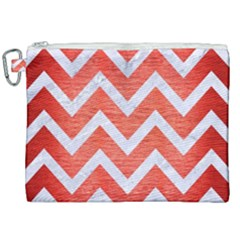 Chevron9 White Marble & Red Brushed Metal Canvas Cosmetic Bag (xxl) by trendistuff
