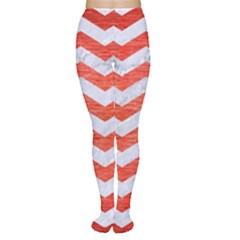 Chevron3 White Marble & Red Brushed Metal Women s Tights by trendistuff