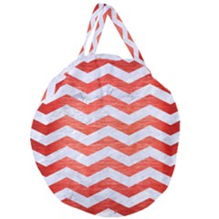 Chevron3 White Marble & Red Brushed Metal Giant Round Zipper Tote