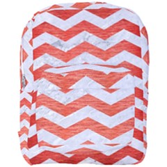 Chevron3 White Marble & Red Brushed Metal Full Print Backpack by trendistuff