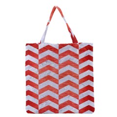 Chevron2 White Marble & Red Brushed Metal Grocery Tote Bag by trendistuff