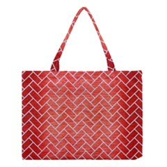Brick2 White Marble & Red Brushed Metal Medium Tote Bag by trendistuff