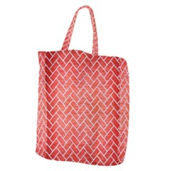 Brick2 White Marble & Red Brushed Metal Giant Grocery Zipper Tote by trendistuff