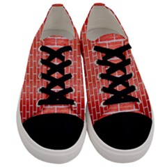 Brick1 White Marble & Red Brushed Metal Men s Low Top Canvas Sneakers